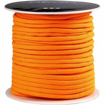 Imitert fallskjermsnor 4 mm - Neon Orange - 5 meter